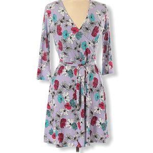 LEOTA Floral  3/4 Sleeve Knee Length Tie Dress